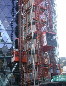 Swiss Re The Gherkin Construction Mammoth & Twin High Speed Passenger Hoists on a UBS Common Tower