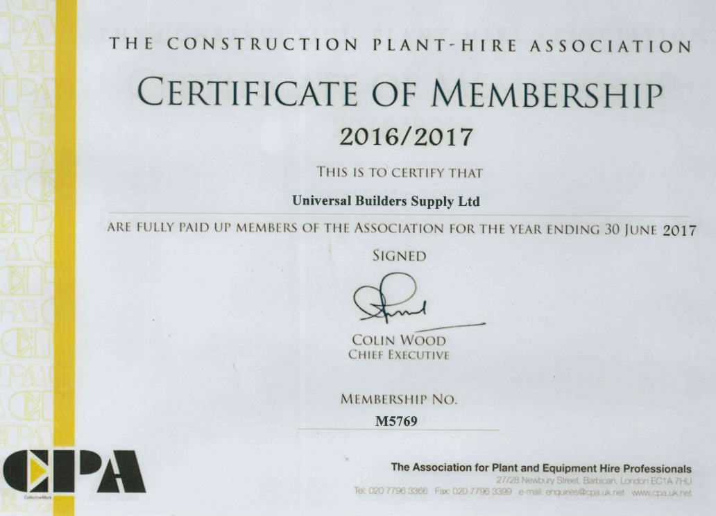 UBSL Construction Plant Hire Assosiation Membership Certificate 2017 Image