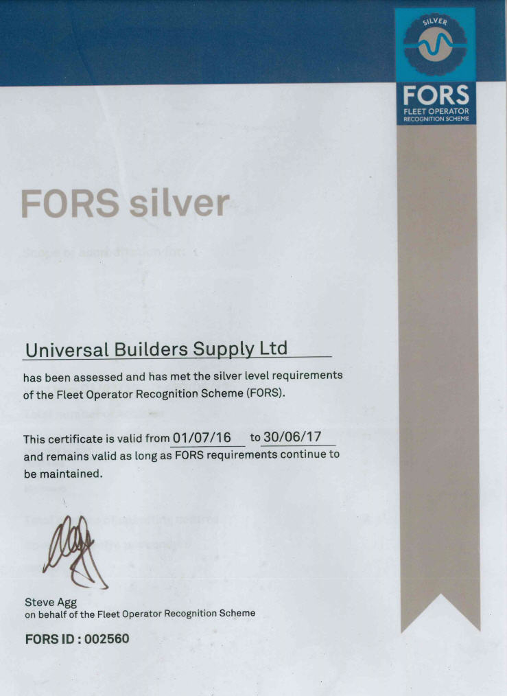 UBSL FORS Silver Membership Certificate 2017 Image